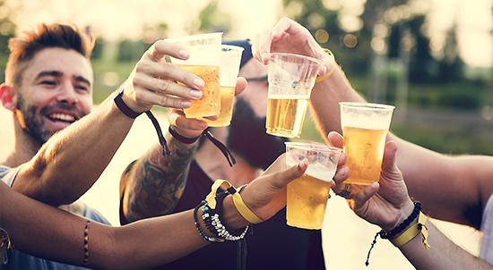 Friends enjoying beers